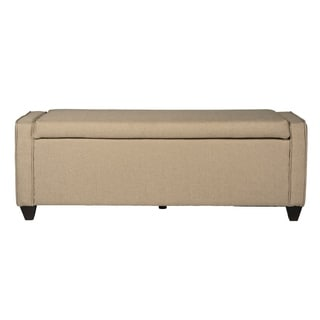 Natural Linen Flip Top Storage Bench