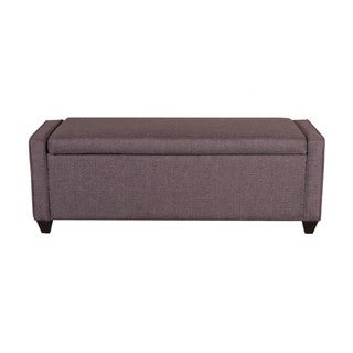 Dark Gray Linen Flip Top Storage Bench