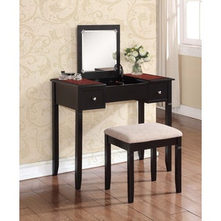 Linon Newton Dark Red Vanity Table, Stool & Flip Top Mirror