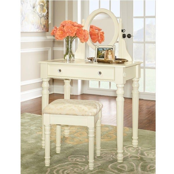 Shop Linon Princess Vanity Table, Stool & Mirror Set In