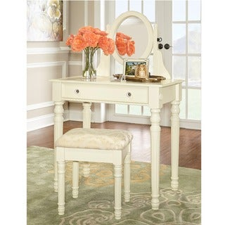 Linon Princess Vanity Table, Stool & Mirror Set in Ivory