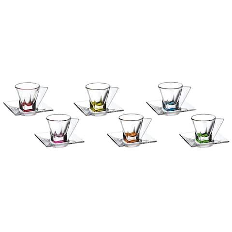 Fusion Multicolor Murano Espresso Cups (Set of 6)