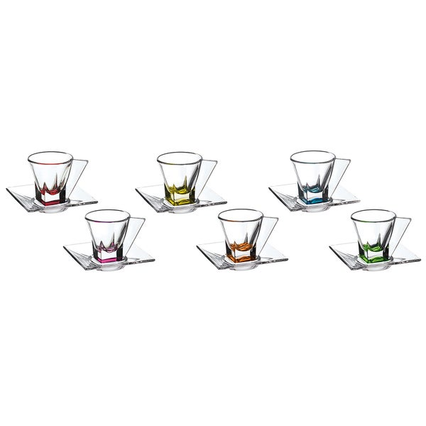 Fusion Multicolor Murano Espresso Cups (Set of 6)