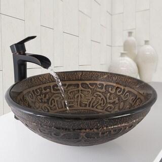 VIGO Golden Greek Glass Vessel Bathroom Sink and Niko Bathroom Vessel Faucet in Antique Rubbed Bronze