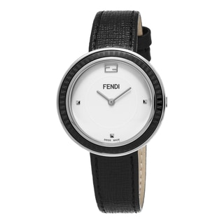 Fendi Women's F352034011 'MyWay' White Dial Black Leather Strap Swiss Quartz Watch