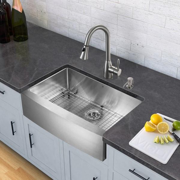 Kitchen Sink Set: Shop VIGO All-in-One 33-inch Stainless Steel Farmhouse