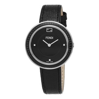 Fendi Women's F352031011 'MyWay' Black Dial Black Leather Strap Swiss Quartz Watch