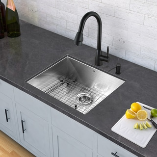 VIGO Stainless Steel Single Bowl Undermount Kitchen Sink and Graham Matte Black Pull-Down Spray Kitchen Faucet