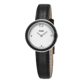 Fendi Women's F352024011 'MyWay' White Dial Black Leather Strap Swiss Quartz Watch