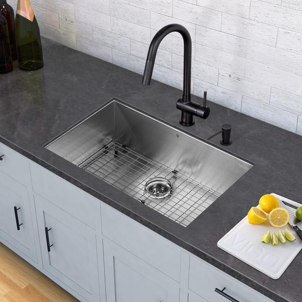 "Black Kitchen Sink For Sale: Shop VIGO All-In-One 32"" Ludlow Stainless Steel Undermount"