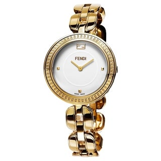 Fendi Women's F351434000 'MyWay' White Dial Yellow Goldtone Stainless Steel Swiss Quartz Watch