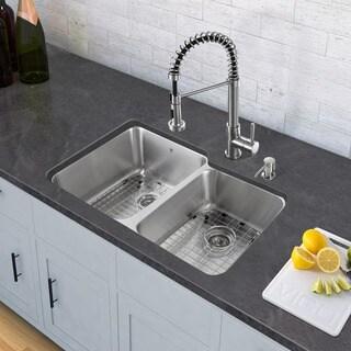 VIGO Stainless Steel Double Bowl Undermount Kitchen Sink and Edison Stainless Steel Pull-Down Spray Kitchen Faucet
