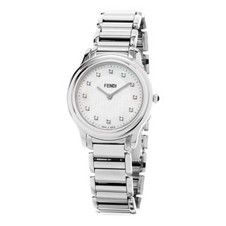Fendi Women's F251034500D1 'Classico' Mother of Pearl Diamond Dial Stainless Steel Swiss Quartz Watch