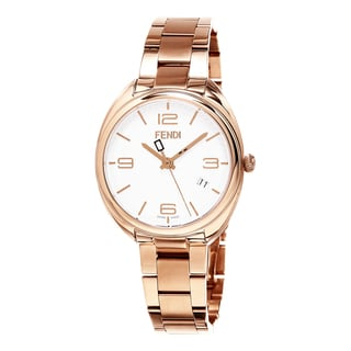 Fendi Women's F211534000 'Momento' White Dial Rose Goldtone Stainless Steel Swiss Quartz Watch