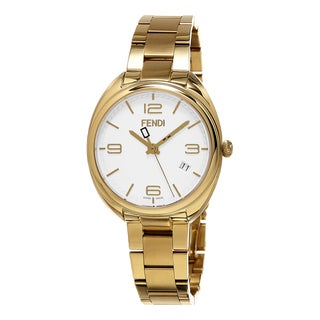 Fendi Women's F211434000 'Momento' White Dial Yellow Goldtone Stainless Steel Swiss Quartz Watch