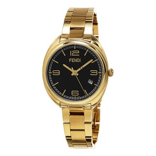 Fendi Women's F211431000 'Momento' Black Dial Yellow Goldtone Stainless Steel Swiss Quartz Watch