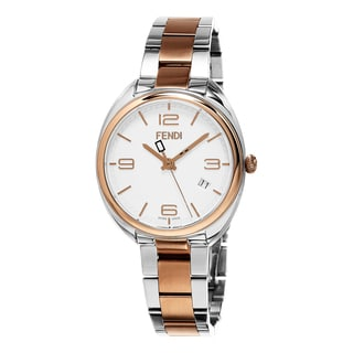 Fendi Women's F211234000 'Momento' White Dial Stainless Steel/Rose Goldtone Swiss Quartz Watch