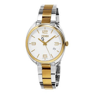 Fendi Women's F211134000 'Momento' White Dial Yellow Goldtone Stainless Steel Swiss Quartz Watch