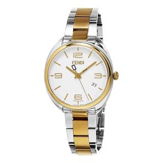Fendi Women's F211134000 'Momento' White Dial Yellow Goldtone Stainless Steel Swiss Quartz Watch