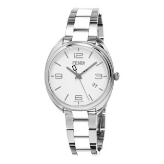 Fendi Women's F211034004 'Momento' White Dial Stainless Steel/White Ceramic Swiss Quartz Watch'
