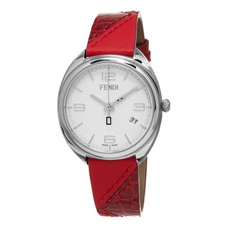 Fendi Women's F210034073 'Momento' White Dial Red Leather Strap Swiss Quartz Watch