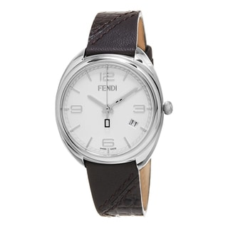 Fendi Women's F210034021 'Momento' White Dial Brown Leather Strap Swiss Quartz Watch