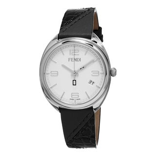 Fendi Women's F210034011 'Momento' White Dial Black Leather Strap Swiss Quartz Watch