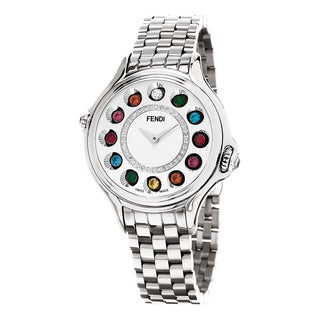 Fendi Women's F107034000D2T05 'CrazyCarats' Silver Diamond Dial Stainless Steel Swiss Quartz Watch