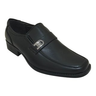 Men's Black Slip on Oxford Dress Shoes with Buckle