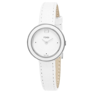 Fendi Women's F358024041 'MyWay' White Dial White Leather Strap Swiss Quartz Watch