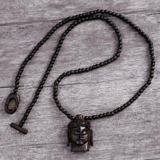 Handcrafted Ebony Wood 'Peaceful Buddha' Necklace (India)