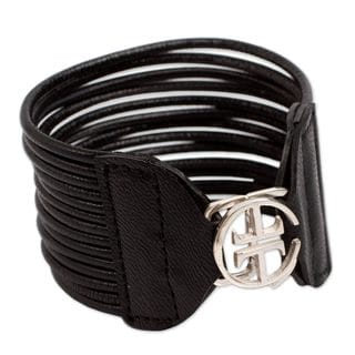Womens Chic Handcrafted Soft Black Leather Cuff Bracelet with Decorative 925 Sterling Silver Closure (Peru)