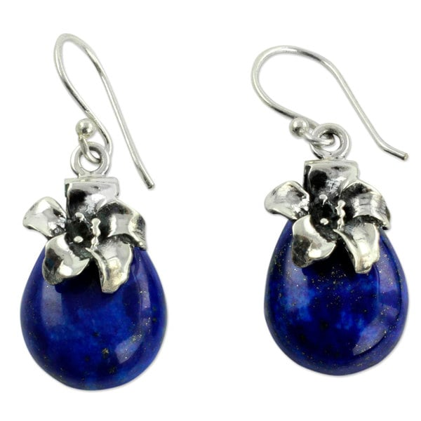 Handmade Sterling Silver 'Lovely Lily' Lapis Lazuli Earrings (India)