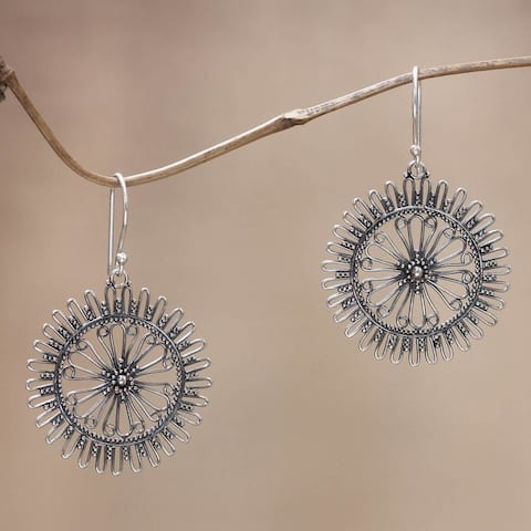 NOVICA Handmade Sterling Silver 'Dazzling Suns' Earrings (Indonesia)