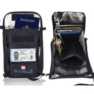 Suvelle RFID Travel Passport Holder Hidden Wallet Neck Stash Pouch