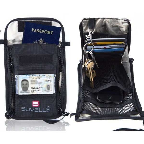 9fb7679b92f6 Shop Suvelle RFID Travel Passport Holder Hidden Wallet Neck Stash ...