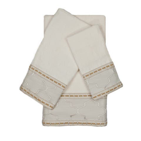 Austin Horn En'Vogue Stanton Ribbon Ecru 3-piece Decorative Embellished Towel Set
