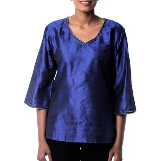 Handmade Silk 'Grand Sapphire' Tunic (India) (4 options available)