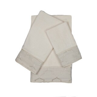 Austin Horn En'Vogue Stanton Gimp Ecru 3-piece Decorative Embellished Towel Set