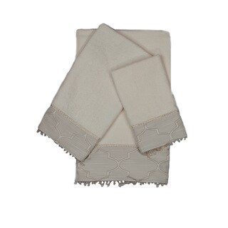 Austin Horn En'Vogue Stanton Beads Ecru 3-piece Decorative Embellished Towel Set