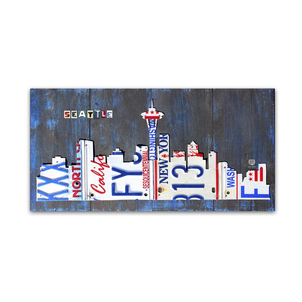 shop design turnpike seattle skyline license plate canvas wall art
