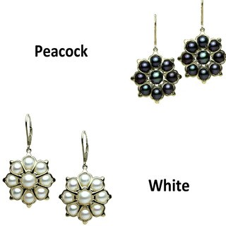 One-of-a-kind Michael Valitutti Sterling Silver Pearl Lotus Earrings