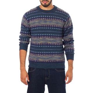 Handmade Men's Alpaca 'Cajamarca Blues' Sweater (Peru)