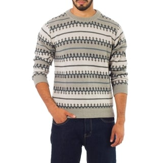 Handmade Men's Alpaca 'Mountain Mist' Sweater (Peru)