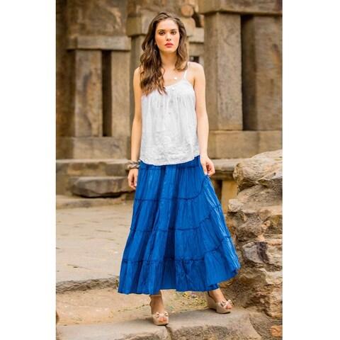 Handmade Cotton 'Blue Frills' Skirt (India)