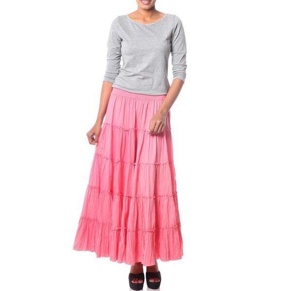 Handmade Cotton 'Strawberry Frills' Skirt (India)