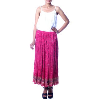 Handmade Cotton 'Royal Fuchsia Jaipur' Skirt (India)