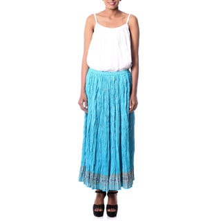 Handmade Cotton 'Royal Turquoise Jaipur' Skirt (India)