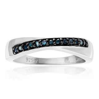 Journee Collection Sterling Silver Blue Diamond 1/8 Carat Accent Round Cut Band