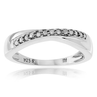 Journee Collection Sterling Silver 1/8 Carat Diamond Accent Round Cut Band